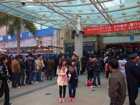南寧駅のチケット売り場の大行列