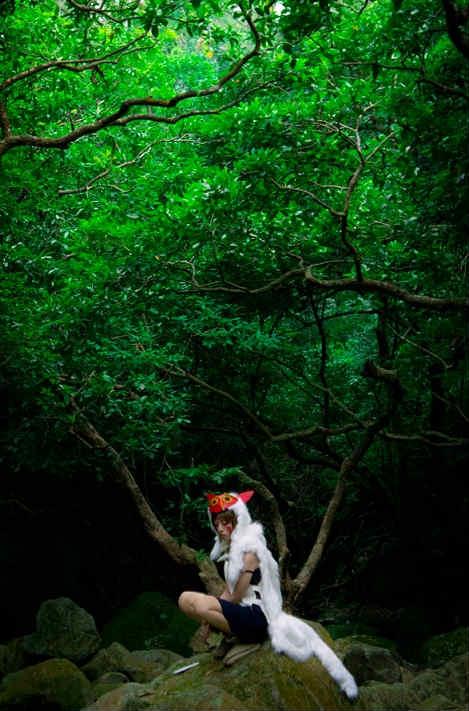 もののけ姫「サン」のコスプレ 香港人女性