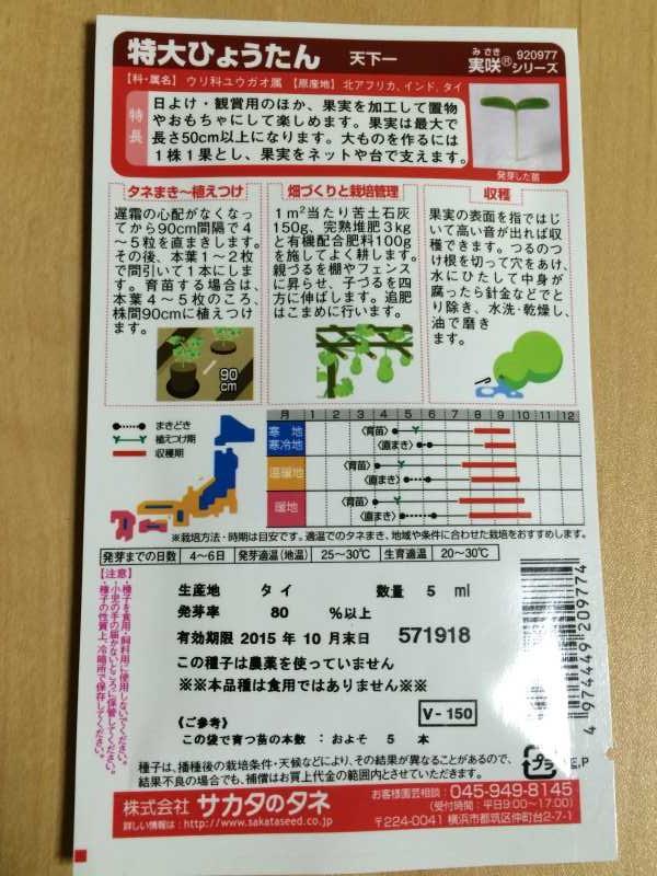 【珍しい野菜栽培】4.千成ひょうたん・特大ひょうたんとパクチーの種をゲット! (4)